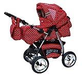Lux4Kids King Kinderwagen Safety-Sommer-Set (Sonnenschirm, Autositz & ISOFIX Basis, Regenschutz, Moskitonetz, Getränketablett, Matratze, Wickelunterlage) 64 Rot & Weiße Punkte