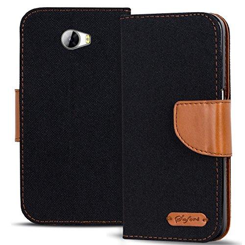 Verco Y5 II Hülle, Schutzhülle für Huawei Y6 2 Compact Tasche Denim Textil Book Case Flip Case - Klapphülle Schwarz
