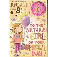 Granddaughter 8th Birthday Card with Badge -