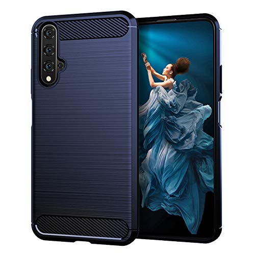 TPU Soft Cover für Huawei Honor 20, Silikon Einfarbig Rückseite Kohlefaser Fall, Anti-Fall Gebürstet Mit Textur All-Inclusive Cover für Huawei Honor 20/20 Pro