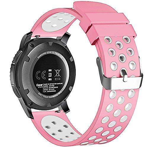 22mm 20mm 18mm Smart Watch Bands, Fantek Weich Silikon atmungsaktiv Nike Sport Band Wasserdicht Alternative Uhrenarmband Armband für Pebble Zeit/Moto 3602nd Gen Armbanduhr/Samsung Gear S3Frontier/Classic