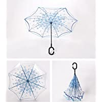 A prueba de viento reverso plegable doble capa paraguas transparente invertido y auto de pie dentro