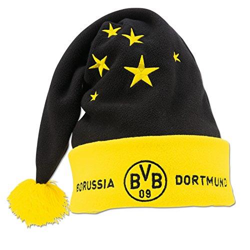 Borussia Dortmund Nikolausmütze, Schwarzgelb, Polyester, BVB-Emblem, Sternemuster one Size