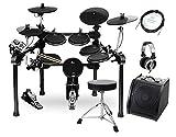 XDrum DD-520 PLUS SET 2 E-Drum Set (elektronisches Schlagzeug, mit aktiver Monitorbox inkl. Kabel, Schlagzeug-Hocker, Kopfhörer, Sticks & Fußmaschine, 458 Sounds, USB) schwarz