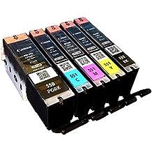 5x Original setp de Up cartucho de tinta para Canon Pixma IP 7250MG 5450MG 6350MX 725MX 925PGI550PGI 550CLI551CLI 551–BK, PBK, Cy, Ma, Ye–Neutral del paquete
