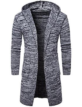 Casual Manga Larga Cárdigans para Hombre, Honghu Ocio Encapuchado Largo Sweater Outwear
