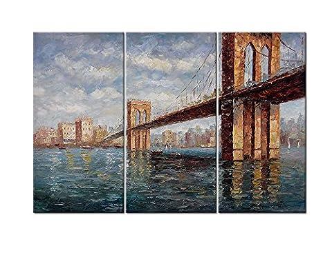 Impression sur toile Art Mural Peintures pour Home Decor Golden Gate Bridge en panneau style 3pièces Peint à la main Motif moderne encadrée art images pour décoration de salon Paysage Photo 30,5x 20,3cm