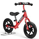 Enkeeo 12 inch Balance Bike No Pedal for 2 - 6 Year Old Kids , Carbon Steel Frame, Adjustable Handlebar, Swat and Stand, 50kg Capacity, Red