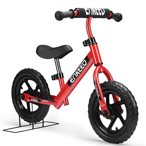 ENKEEO Prima Bici Senza Pedale per Bambini Bicicletta Altezza meno di 1.1m, Telaio in Acciaio al Carbonio, Sella e Manubrio Regolabile, Capacità fino a 50kg, Rosso