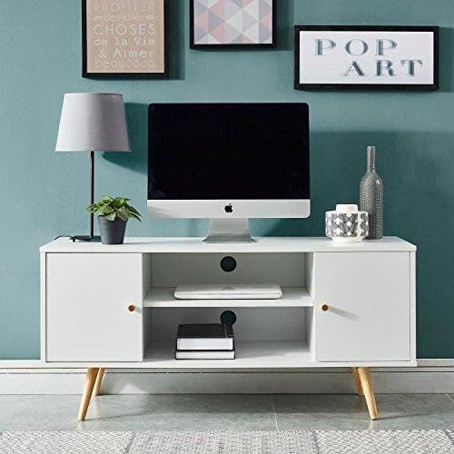 ANNETTE Meuble TV scandinave décor blanc + pieds en bois eucalyptus - L 116 cm