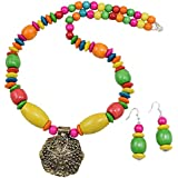 Fashionvalley Wooden Beads Designer Antique Pendant Necklace Set for Girls & Women