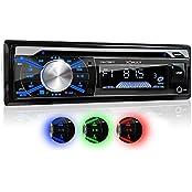 XOMAX XM-CDB617 Autoradio mit CD-Player + Bluetooth Freisprecheinrichtung & Musikwiedergabe + 3 Farben einstellbar (rot, blau, grün) + USB Anschluss (bis 128 GB) & Micro SD Kartenslot (bis 128 GB) für MP3 und WMA + AUX-IN + Single DIN / 1 DIN Stan