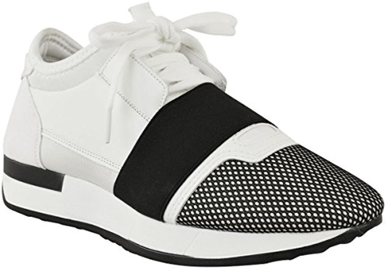 celeblook sm18 Celebmodelook Mujer Chica Cordones Bali Zapatillas Corredor Walking Gimnasio Zapatos - Blanco/Negro...