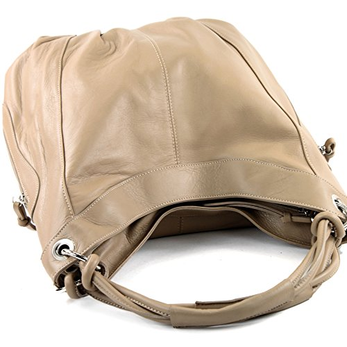 modamoda de - ital. Handtasche Damentasche Schultertasche Ledertasche Tasche Nappaleder Z18 Beige