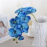 Amazingdeal365 schöne Orchidee, Kunstpflanze aus Seide für Fenster Wohnzimmer Schafzimmer Terrassse Länge: 70cm (Blau)