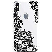 Oihxse Mandala Flores Encaje Patrón Serie Case Compatible con iPhone 5/5S/SE Funda TPU Silicona Suave Protector Ultra Slim Anti-Rasguño Transparente Carcasa (A5)