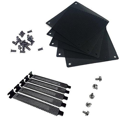 nincha 12 mm PVC Netzeinsatz für Computerkühler, Ventilatoren, schwarz, staubdicht, 5 Stück und 5 Blindstreifen, schwarz, aus Hartstahl, PCI Abdeckung mit Schrauben