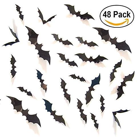 Sunshine 3D Fledermaus Wand Aufkleber Halloween Party Dekoration mit 4 verschiedenen Größe, 48 (Draculas Frau Kostüm)