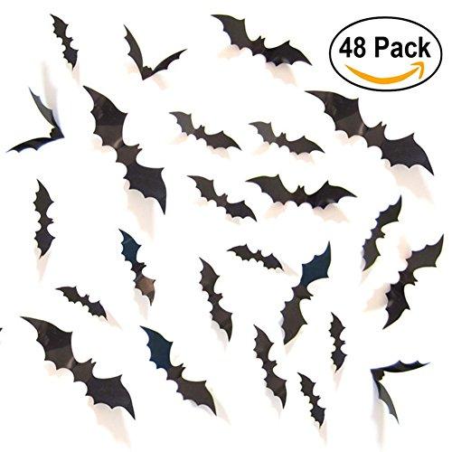 Sunshine 3D Fledermaus Wand Aufkleber Halloween Party Dekoration mit 4 verschiedenen Größe, 48 (30 Kostüme Verschiedene Halloween)
