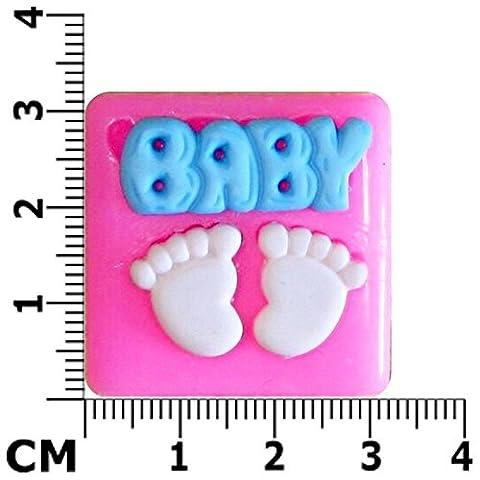 Mot Baby & Moule en Silicone en forme de pieds de bébé pour décoration de gâteaux glaçage pâte à sucre pour décoration de gâteau outils Par les fées Blessings