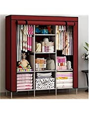 Bdmp 6+2 Layer Fancy and Portable Foldable Collapsible Closet/Cabinet (Need to Be Assembled) (88130) (Wine Red).