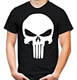 Punisher T-Shirt | Männer | Herren | Comic | Film | Serie | Kostüm | War Zone | Marvel | USA | Kult (XL, Weiß)