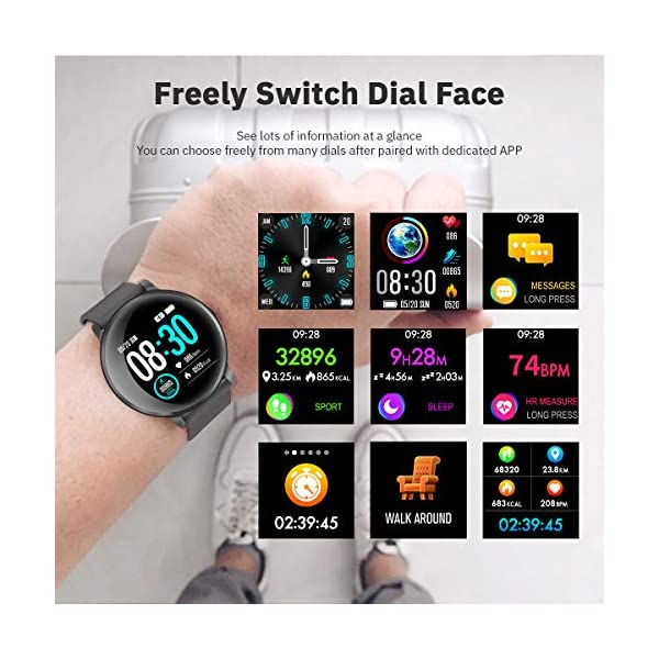 CatShin Smart Watch Activity Tracker con monitor de frecuencia cardíaca - CS06 IP68 Impermeable Multifunción Ronda Fitness Bluetooth Reloj deportivo para hombres y mujeres,compatible con iOS y Android 2