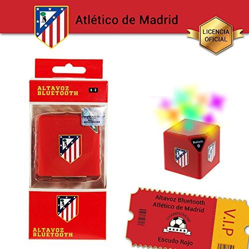 Atlético de madrid - Altavoz bluetooth inalámbrico con licencia oficial del . función manos libres. escudo rojo