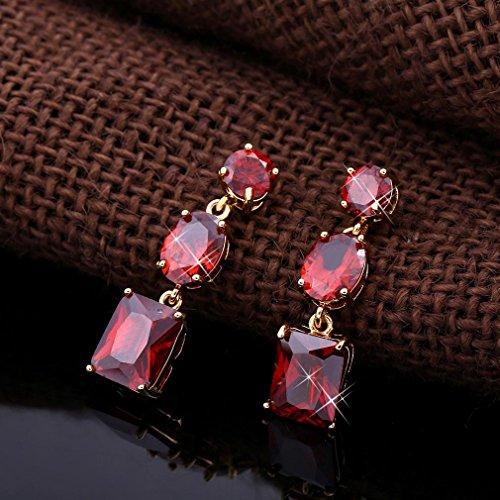 YAZILIND 18K Vogue Or Elégant Plaqué zircon Boucles d'oreilles Dangle Goutte pour Bijoux Femmes Cadeau rouge
