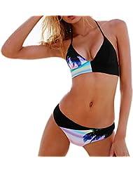 Rcool Para Mujeres Traje de Baño de Bikini Conjunto de Cuello Alto Push Up Ropa de Baño Beachwear Swimsuit Swimwear Negro