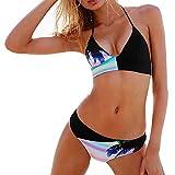 Rcool Para Mujeres Traje de Baño de Bikini Conjunto de Cuello Alto Push Up Ropa de Baño Beachwear Swimsuit Swimwear Negro (S, Negro)
