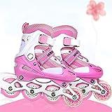 Turefans Kinderinliner Inlineskates, Verstellbar Rollschuhe mit Blinkende Rolle - Zwei Größen: 31-34, 35-38 (Pink) (31-34)