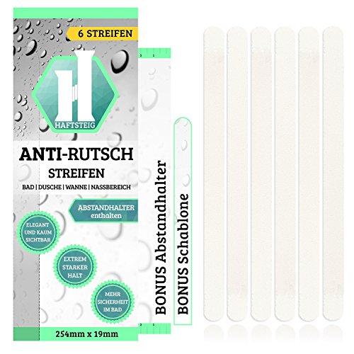 6 Anti-Rutsch-Sticker Badewanne Dusche Bad + Anbringhilfe / Selbstklebende Duschmatte transparent / Rutschsichere Antirutsch Aufkleber / Kurz (254mm x 19mm)