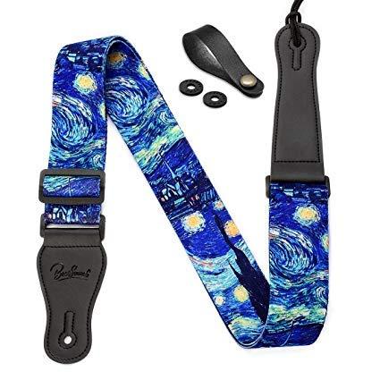 """Noche estrellada de Van Gogh """""""" Botón de correa para guitarra (incluye correa y 2cierres de seguridad con correa para el hombro correa para bajo, guitarra acústica y eléctrica"""