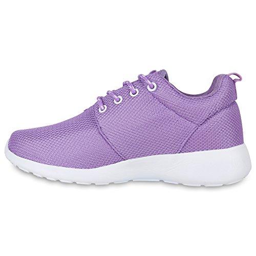 Damen Laufschuhe   Modische Sportchuhe  Sneaker Profilsohle  Glitzer Pailletten Sneakers   Runners Snake Blumen Lila