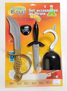 Happy Boys - Kit de accesorios para disfraz de pirata con sable, puñal, garfio, parche para niño