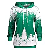Kltipeng Womens Blouses Women Christmas Hooded Print Long Sleeve Sweatshirt Blouse(EU-34/CN-S, Grün)