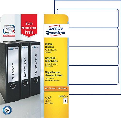 Avery Zweckform L4761-10 Ordner-Etiketten (A4, Rückenschilder, 4x 40 Stück, 192 x 61 mm) 4x 10 Blatt weiß (4)