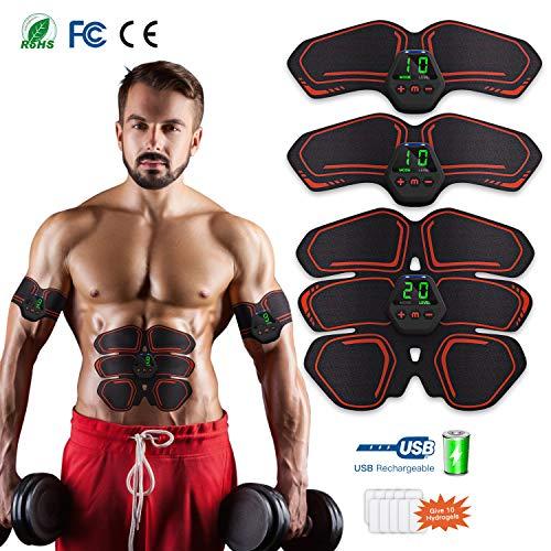Yunsis ems stimolatore muscolare, elettrostimolatore per addominali con display lcd, 10 modalità e 20 livelli di intensità, 10pcs ricambio gel pezzi per uomo e donna