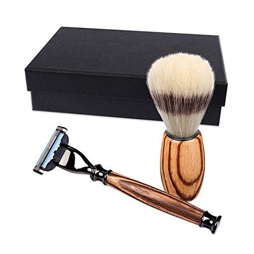 Set de rasage avec rasoir et blaireau, en bois de zebrano, fabriqués à main