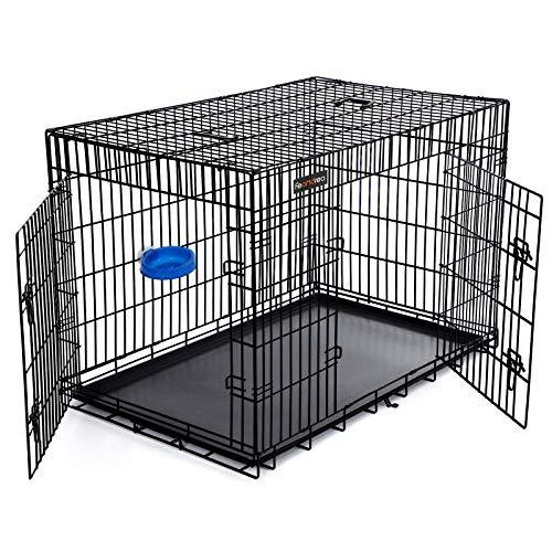 SONGMICS HundeKäfig 2 Türen Hundebox Transportbox DrahtKäfig Katzen Hasen Nager Kaninchen Geflügel Käfig schwarz XXXL 122 x 81 x 76 cm PPD48H
