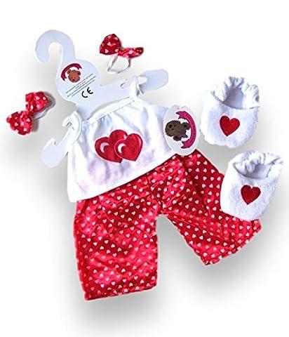 construire votre Ours Armoire 38,1cm Vêtements Fit construire des ours Cœur PJ de pyjama (Rouge)