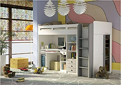 Combi Matt White & Silver Bunk Bed With Book Shelf, Computer Desk and Side Wardrobe (27XD1T03) - cheap UK Bunkbed store.