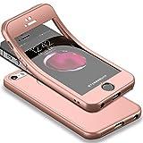 Für iPhone SE Hülle + Panzerglas, HICASER 360 Grad Komplettschutz Vorder und Rückseiten Schutz Schale Ganzkörper-Koffer Soft TPU Schutzhülle für iPhone 5 / 5s Rose Gold