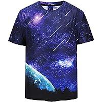 FENICAL Hombres Camiseta Fresca 3D Night Sky Print Manga Corta Summer Tops Camisetas Camiseta Suelta de Moda Talla M