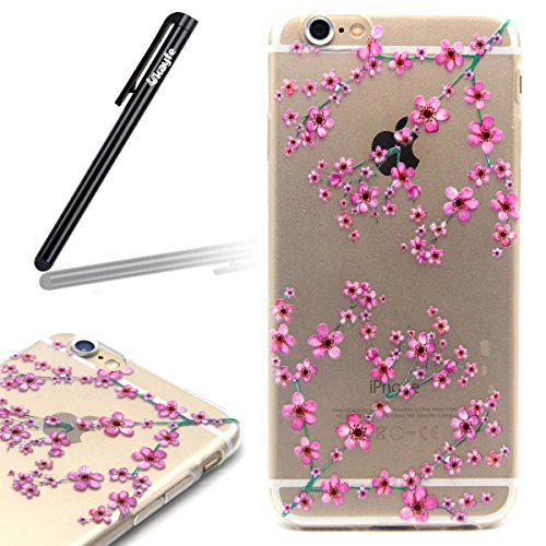 iPhone 6 / 6s Coque Housse Etui, iPhone 6s or Coque en Silicone Placage Coque Clair Ultra-Mince Etui Housse avec Bling Diamant, iPhone 6 / 6s Silicone Case Gold Slim Soft Gel Cover with Diamond, Ukayf Plum fleur