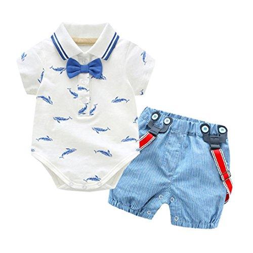 Newborn Body Set (BeautyTop Kleidung Set Baby Sommer Kleidung Set Kleidung Baby Junge Kleiderset 2Pcs/Set Kinder Kind Junge Fliege Gentleman Denim Jumper Kurzarm Top + Shorts (0-6Monat))