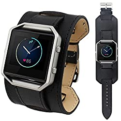 Fitbit Blaze Band, Topten Leather Replacement Wrist Strap Sport Bands Adjustable Watchband For Fitbit Blaze Smart Fitness Watch (Black)