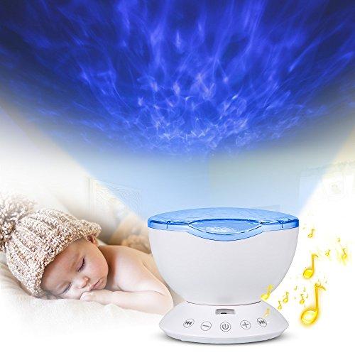 Lampe Projektor, Furado LED Projektor Lampe,Decken Projektor, Ozean Lampe Projektor, Ozean Nachtlicht Projektor mit Multifunktionale Fernbedienung, Eingebautem Mini Musik Player, Romantische Dekoration Licht für Baby Kinder Schlafzimmer Wohnzimmer Party Kindergeburtstag Geschenk(Weiß)