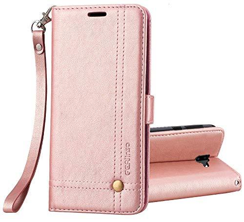 Ferilinso Funda para Samsung Galaxy J4 Plus /J4+, Carcasa Cuero Retro Elegante con ID Tarjeta de Crédito Tragamonedas Soporte de Flip Cover Estuche de Cierre magnético (Oro Rosa)